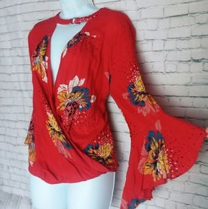 [NWT!] JODIFL bell sleeve wrap front flowy top